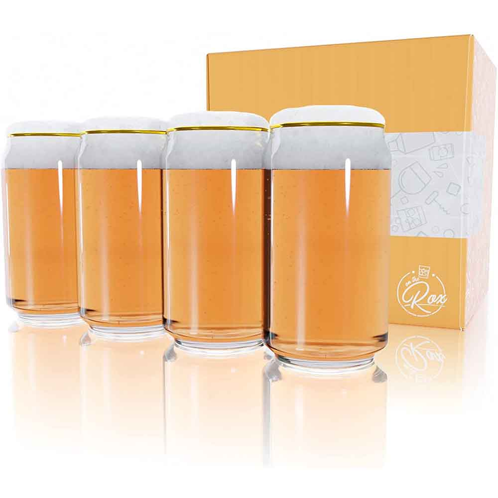 Gold Rim 16 Oz Beer Can Glass 4-Piece Set