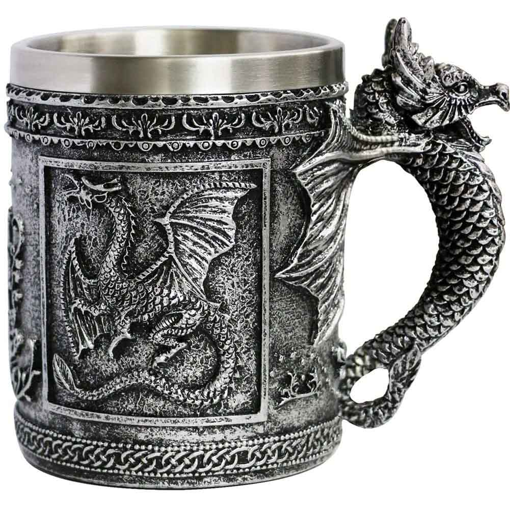 Roaring Dragon Mug - reminds us of a Game of Thrones or Dungeons And Dragons type of Beer Stein - 14oz Stainless