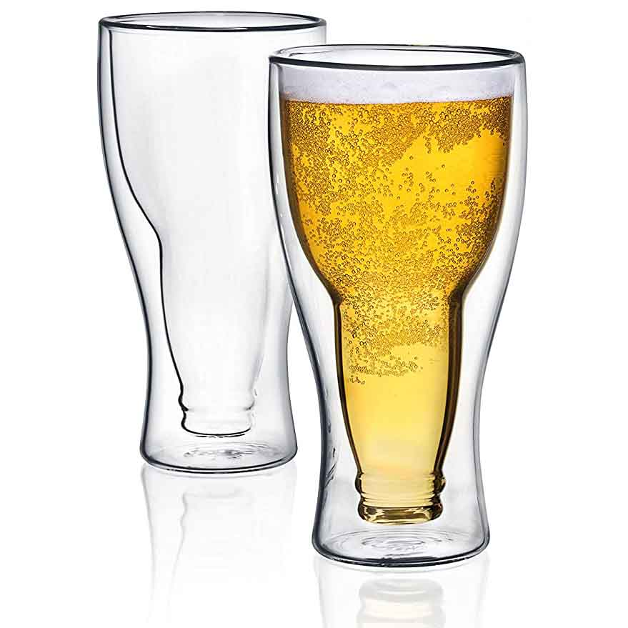 Dragon Glassware Beer Glasses, Insulating Double Walled Upside Down Glass, 13.5-Ounce