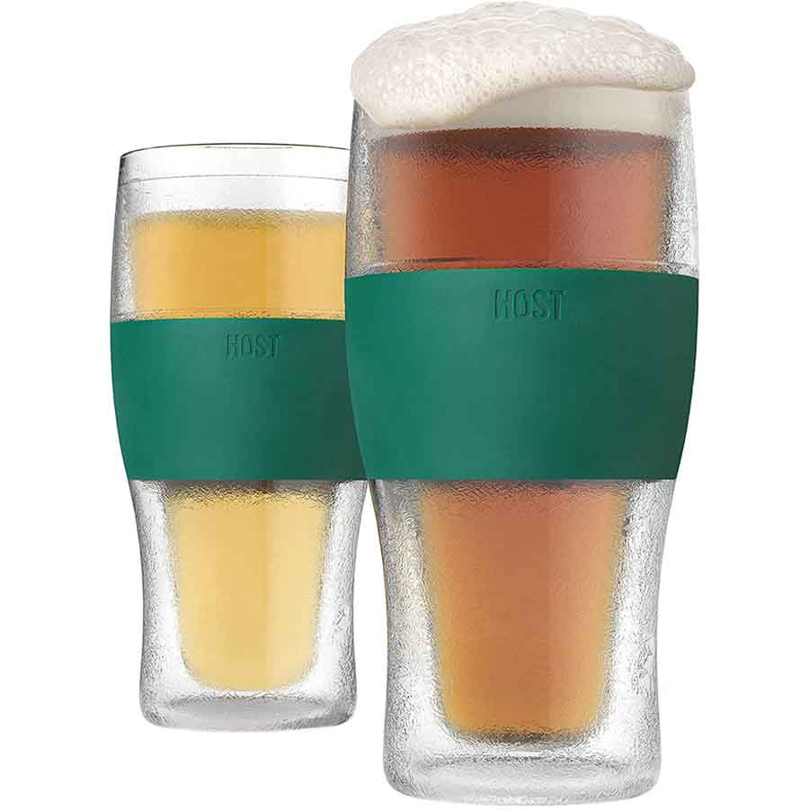 Host Freeze Beer Glasses, 16 ounce Freezer Gel Chiller Double Wall Plastic Frozen Pint Glass, Set of 2