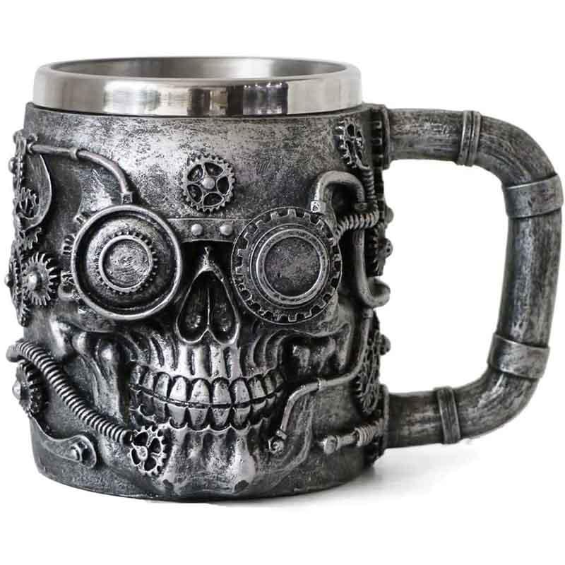 Steampunk Skull Gearwork Pipeline Beer Mug - 14oz