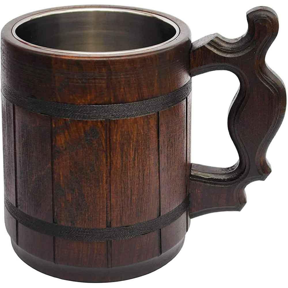 Handmade Wood Mug 20 oz Stainless Steel lined Beer Stein