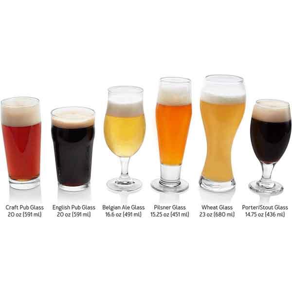 Set of 6 Assorted Craft Beer Glasses