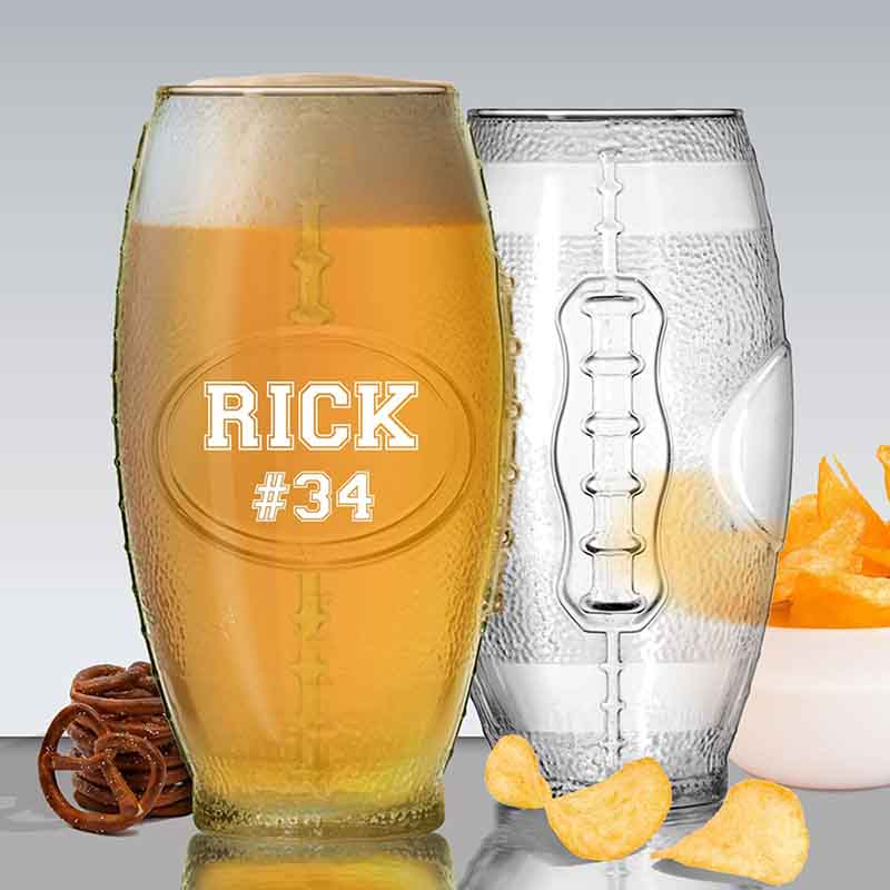 Personalized 23 oz Football Beer Glass